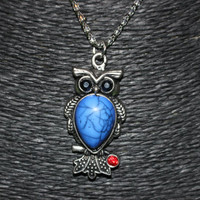 Silver Owl with Blue Stone and Red Rhinestone Pendant Necklace