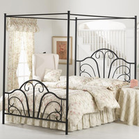 Queen Size Metal Canopy Bed in Matte Black Finish