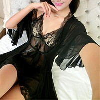 Women sexy lace silk black robe & gown set sleep dress+bathrobe two piece robe bridesmaid wedding sleepwear AD0263