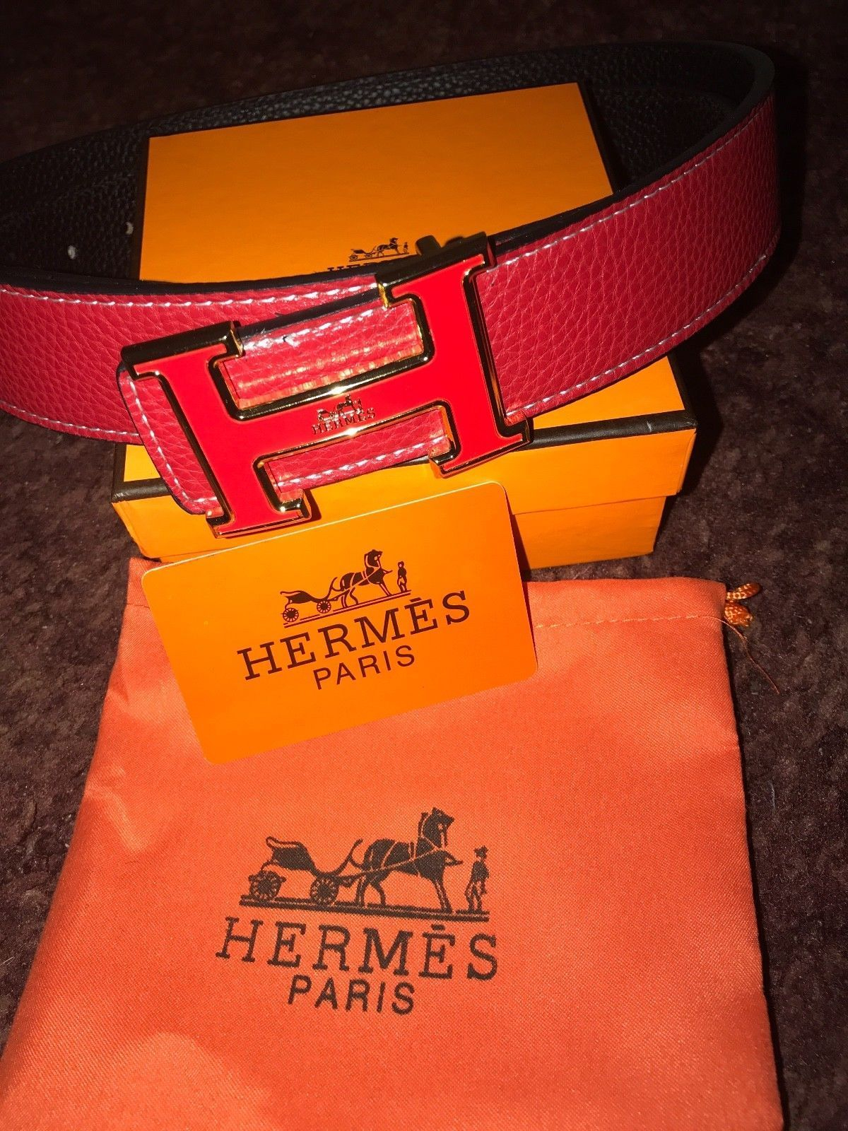 Image of Red Leather Hermes Belt With Gold /Red H Buckle