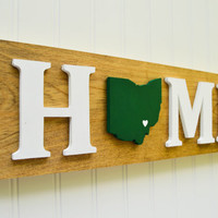 """Ohio Bobcats """"State Heart"""" Home Sign - Handcrafted wood with official team colors"""