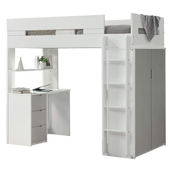 """Loft Bed with Desk - 78"""" X 41"""" X 70"""" White And Gray Laminated Veneer Lumber Loft Bed"""