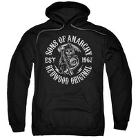 SONS OF ANARCHY/REDWOOD ORIGINALS-ADULT PULL-OVER HOODIE-BLACK