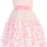 Light Pink Tulle Overlay Satin Dress with Dimensional Taffeta Flowers  (Baby Girls)