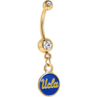 NCAA UCLA Bruins Gold Plated Crystalline Gem Belly Ring | Body Candy Body Jewelry