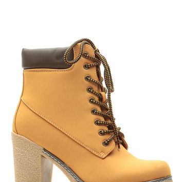 Camel Faux Suede Chunky Hiker Booties