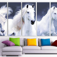 "XLARGE 30""x 70"" 5 Panels Art Canvas Print beautiful Horses white animals Wall Home Decor interior (Included framed 1.5"" depth)"