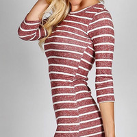 Body Con Striped Dress - Maroon