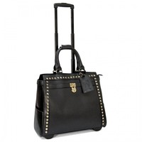 """Cabrelli 15.6"""" Women's Rolling Laptop Bag - Pyramid Studs Rollerbrief - Laptop Bags"""