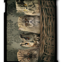 Funny Animal Cat Or owl iPad case, Available for iPad 2, iPad 3, iPad 4 , iPad mini and iPad Air