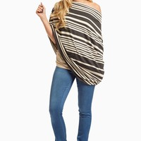 Charcoal-Alternating-Striped-Nursing-Cover/Scarf