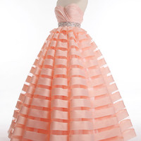 Strapless Organza Stripes Ball Gown Prom Evening Dress