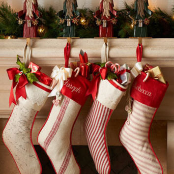 French Laundry Home - Script & Ticking-Stripe Christmas Stockings - Horchow