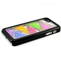 Black Bling Luxury Colorful Moving Diamond Crystal Triangle Back Case Cover For iPhone 5 5G