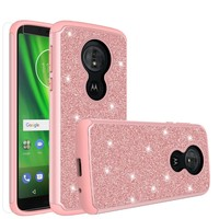 Motorola Moto G6 Play, G6 Forge Case, Moto G6 Play , g6 Forge Glitter Bling Heavy Duty Shock Proof Hybrid Case with [HD Screen Protector] Dual Layer Protective Phone Case Cover for Motorola Moto G6 Play , g6 Forge - Rose Gold