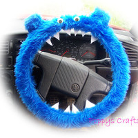 Monster Roar Royal Blue steering wheel cover faux fur fluffy furry fuzzy car truck van jeep cute googly eyes teeth dragon truck suv fun van