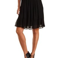 Bow-Front Pleated Chiffon Midi Skirt by Charlotte Russe - Black