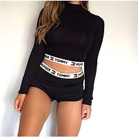 Underwear Sport Gym Crop Shirt Top Tee Shorts (2 Pc Set)