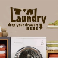 Laundry Drop Drawers   Clothesline Vinyl Decal   Lettering