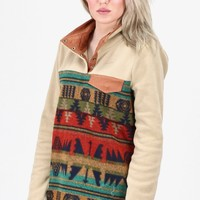Fleece Snap Tribal Print Pullover {Taupe}