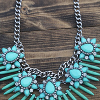 Antique Jeweled Statement Necklace {Turquoise}