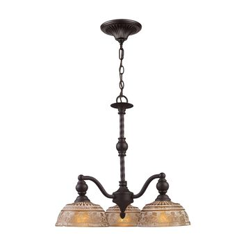 Norwich 3-Light Chandelier in Oiled Bronze with Amber Glass