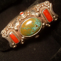 Afghanistan 1960s  Turquoise and Coral Sterling Silver Ring