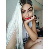 Long Light Pale Blonde Ombre Straight Synthetic Lace Front Wig
