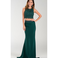 Emerald Green Sexy Sleeveless Two Piece Long Dress  2016 Prom Dresses