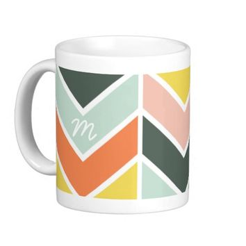 Monogrammed   Cheerful Chevron by Origami Prints