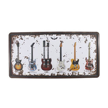6x12 Inches Vintage Feel Rustic Home,bathroom and Bar Wall Decor Car Vehicle License Plate Souvenir Metal Tin Sign Plaque (Guitar Heaven)