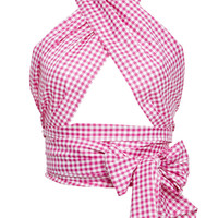 M'O Exclusive Everything Checked Scarf Wrap Top | Moda Operandi