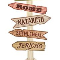 56in Tall x 29in Wide Cardboard Bible Cities Directional Sign