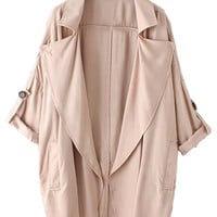 Peach Lapel Roll Up Sleeve Coat
