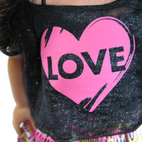 """Neon bubble skirt with black sparkly burnout cropped top for American Girl and other 18"""" Dolls"""