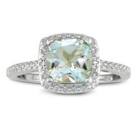 SuperJeweler 2 3/4ct Cushion Cut Green Amethyst and Diamond Ring in Sterling Silver