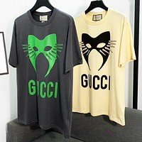 GUCCI Classic Hot Sale Women Men Casual Print Short Sleeve T-Shirt Top