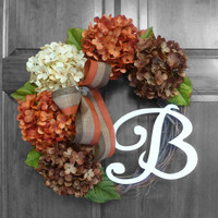 Wreath, Fall Hydrangea Wreaths, Wreaths, Front Door Wreaths, Hydrangea Wreath for Door, Door Wreath, Hydrangea Wreath