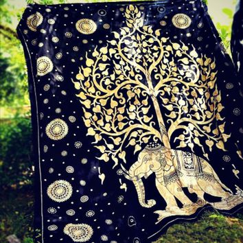 Magical Thinking Gold Tree Of Life Elephant Tapestry