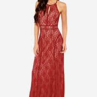 LULUS Exclusive Another Late Night Wine Red Lace Maxi Dress