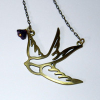 Bronze Sparrow Necklace with Plum Flower