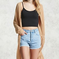 Ribbed Dolman-Sleeve Cardigan