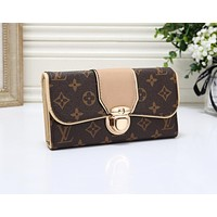Louis Vuitton LV Hot Sale Women Fashion Leather Wallet Purse Khaki