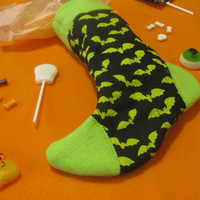 Witch's Sock - Halloween Candy and Treat Stocking - Green Bats - Black & Green Holiday Stocking
