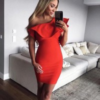 Nikky Off Shoulder Spicy Red Dress