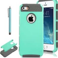 Case for iPhone 5s Case for iPhone 5 KINGCOOL(TM)TPU + PC Hybrid High Impact Hard Shell Case Cover(Mint Green+Grey)