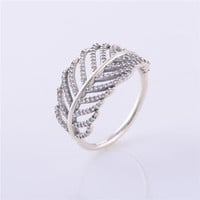 Genuine 925 sterling silver ring fashion charm light as a feather ring Micro Pave clear compatible with European trademark