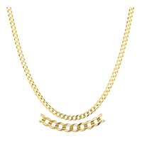 14k Yellow Gold 3mm Solid Cuban Chain 16-24inch