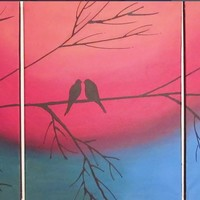 "ARTFINDER: original love bird abstract landscape ""The Rainbow Tree"" rainbow colours painting art canvas - 48 x 20 inches romance by Stuart Wright - A good sized original abstract canvas set of 3 ..."