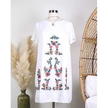 Make Up To Break Up Floral Embroidered Shift Dress in Ivory